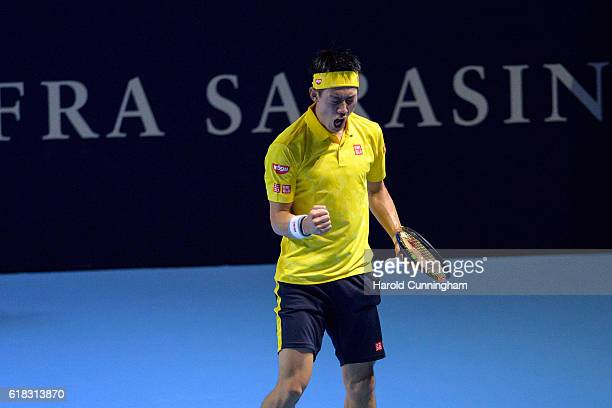 Kei Nishikori of Japan celebrates a point during the Swiss Indoors ATP 500 tennis tournament match against Paolo Lorenzi of Italy at St Jakobshalle...