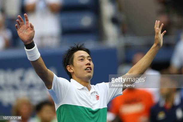 Kei Nishikori of Japan celebrates after defeating Marin Cilic of Croatia during US Open men's singles quarterfinals match on September 5 2018 in New...