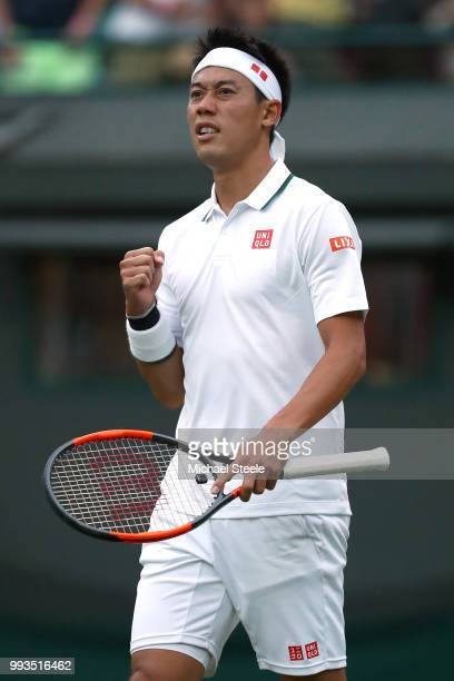 Kei Nishikori of Japan celebrates after defeating Nick Kyrgios of Australia in their Men's Singles third round match on day six of the Wimbledon Lawn...