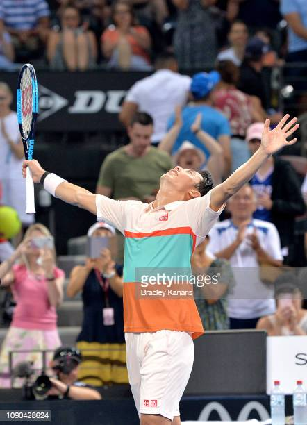 Kei Nishikori of Japan celebrates after winning the match in the Men's Finals match against Daniil Medvedev of Russia during day eight of the 2019...