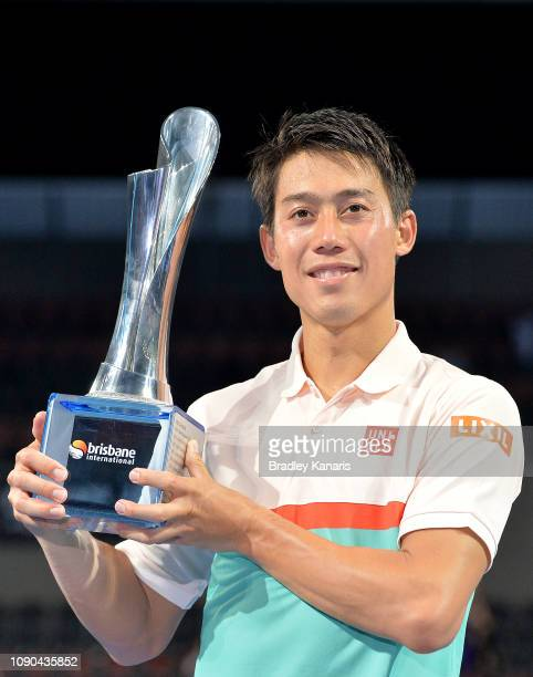Kei Nishikori of Japan celebrates after winning the Men's Finals match against Daniil Medvedev of Russia during day eight of the 2019 Brisbane...