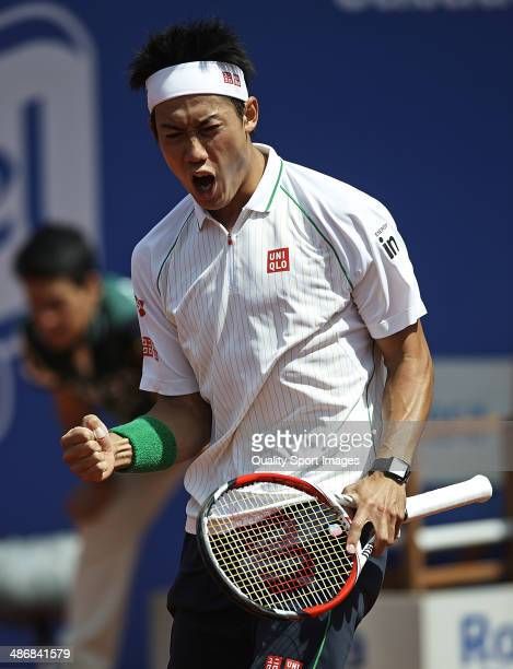 Kei Nishikori of Japan celebrates defeating Ernests Gulbis of Latvia during day six of the ATP Barcelona Open Banc Sabadell at the Real Club de Tenis...