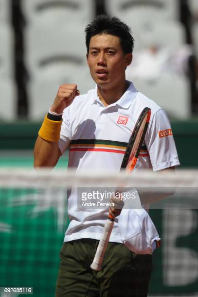 Kei Nishikori of Japan celebrates during the day 9 of the French Open at Roland Garros on June 5 2017 in Paris France
