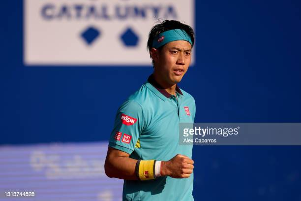 Kei Nishikori of Japan celebrates in his second round match against Cristian Garin of Chile during day three of the Barcelona Open Banc Sabadell 2021...