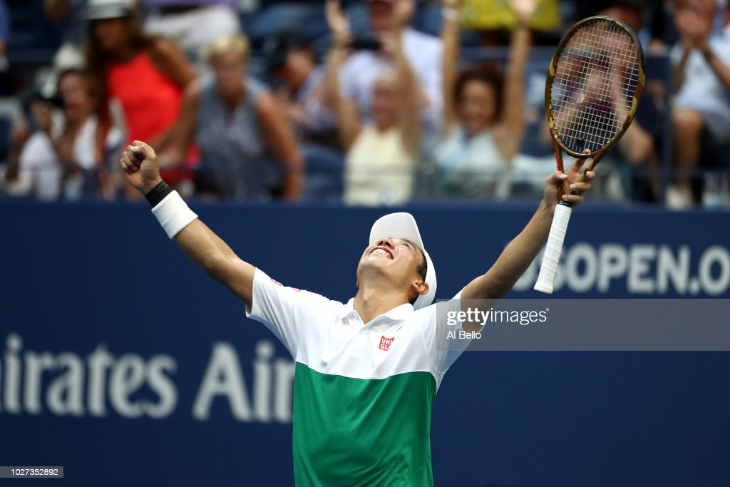 Kei Nishikori of Japan celebrates match point during his men's singles quarter-final match against Marin Cilic of Croatia on Day Ten of the 2018 US Open at the USTA Billie Jean King National Tennis Center on September 5, 2018 in the Flushing neighborhood of the Queens borough of New York City.