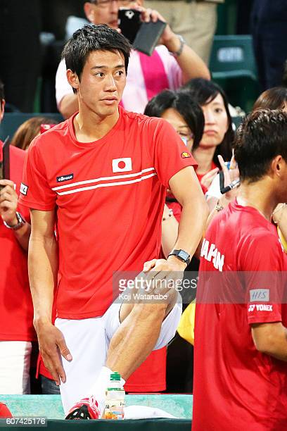 Kei Nishikori of Japan celebrates the winner during the Davis Cup World Group Playoff singles match between at Utsubo Tennis Center on September 18...