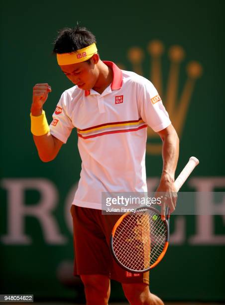 Kei Nishikori of Japan celebrates victory during his Mens Singles match against Daniil Medvedev of Russia at MonteCarlo Sporting Club on April 18...