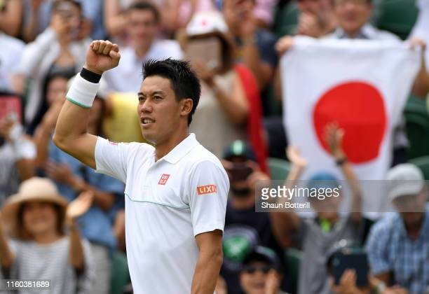 Kei Nishikori of Japan celebrates victory in his Men's Singles third round match against Steve Johnson of The United States during Day six of The...