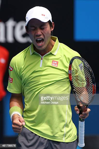 Kei Nishikori of Japan celebrates winning his first round match against Nicolas Almagro of Spain during day two of the 2015 Australian Open at...