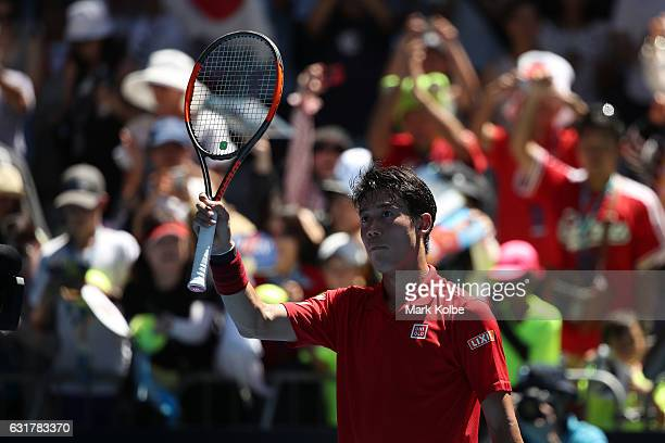 Kei Nishikori of Japan celebrates winning his first round match against Andrey Kuznetsov of Russia on day one of the 2017 Australian Open at...