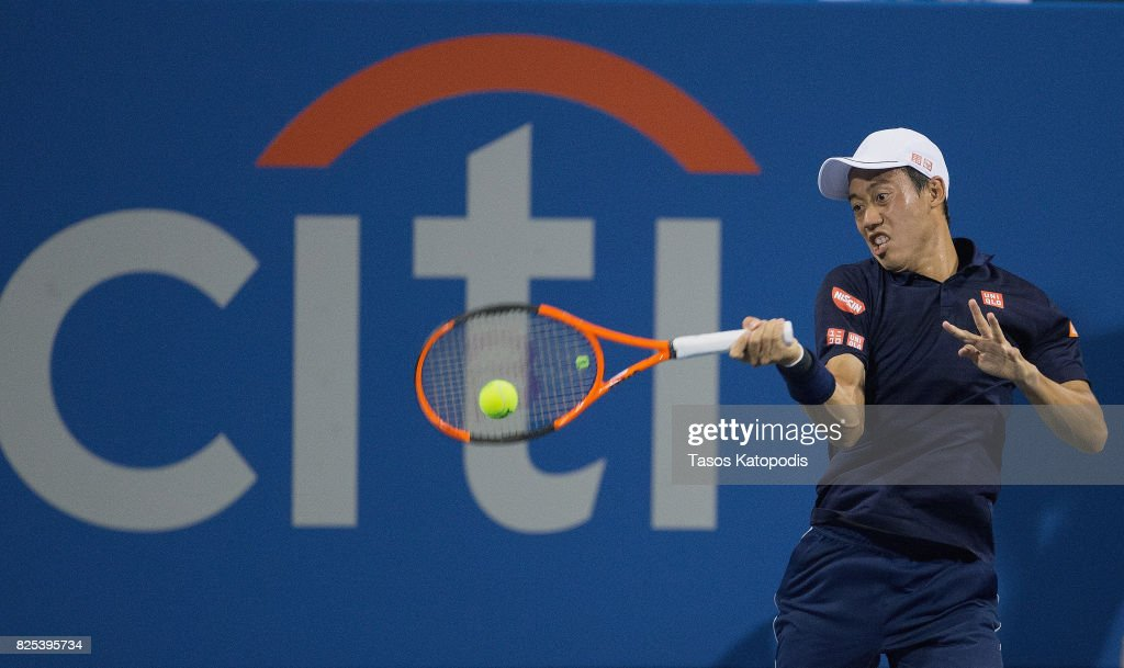 Kei Nishikori of Japan competes against Donald Young of United States at William H.G. FitzGerald Tennis Center on August 1, 2017 in Washington, DC.