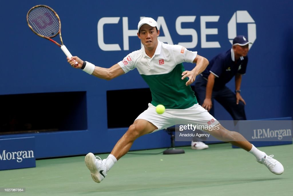 Kei Nishikori of Japan competes against Marin Cilic (not seen) of Croatia during US Open men's singles quarterfinals match on September 5, 2018 in New York.