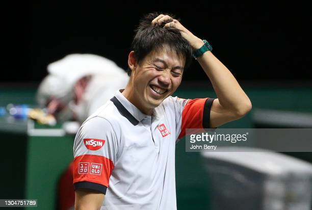 Kei Nishikori of Japan during his first round victory against Felix Auger-Aliassime of Canada on day 1 of the 48th ABN AMRO World Tennis Tournament...