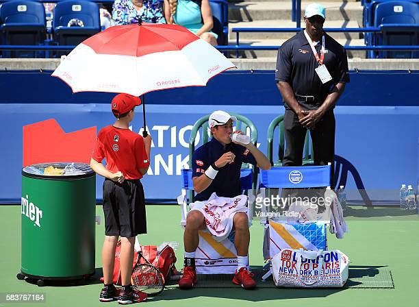 Kei Nishikori of Japan during his match against Dennis Novikov on Day 3 of the Rogers Cup at the Aviva Centre on July 27 2016 in Toronto Ontario...