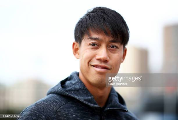 Kei Nishikori of Japan during the ATP all access hour during Day One of the Rolex MonteCarlo Masters at MonteCarlo Country Club on April 14 2019 in...