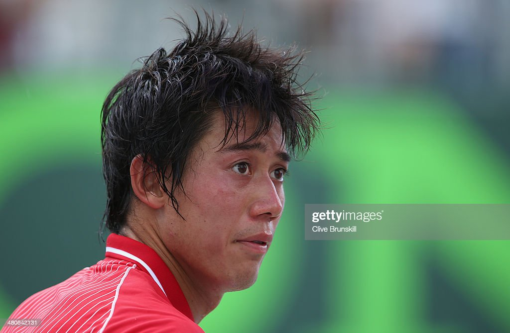 Kei Nishikori of Japan during the change over during his three set victory against David Ferrer of Spain during their fourth round match during day 9 at the Sony Open at Crandon Park Tennis Center on March 25, 2014 in Key Biscayne, Florida.