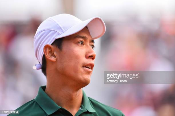 Kei Nishikori of Japan during the day 8 of the French Open at Roland Garros on June 4 2017 in Paris France