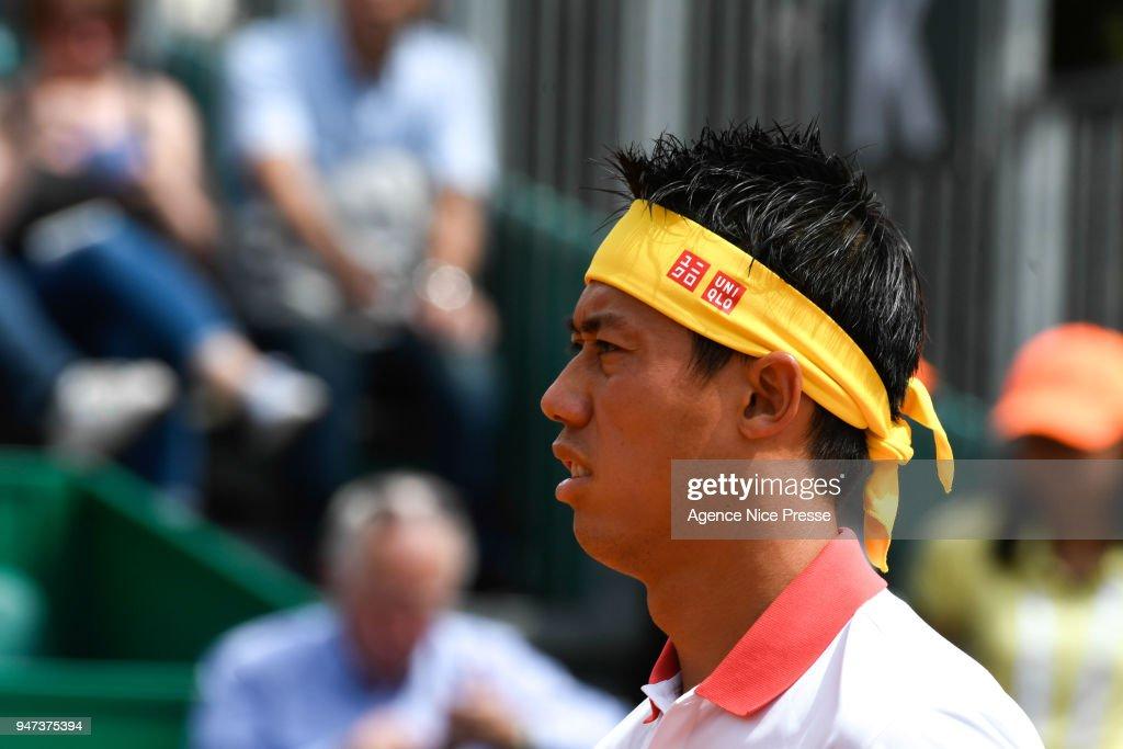 Kei Nishikori of Japan during the Monte Carlo Rolex Masters 1000 at Monte Carlo on April 16, 2018 in Monaco, Monaco.