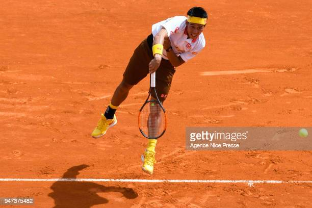 Kei Nishikori of Japan during the Monte Carlo Rolex Masters 1000 at Monte Carlo on April 16 2018 in Monaco Monaco