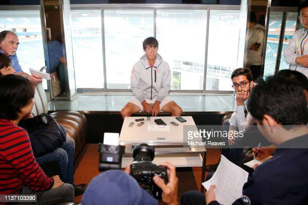 Kei Nishikori of Japan fields questions from the media at a player availability session on Day 3 of the Miami Open Presented by Itau on March 20 2019...