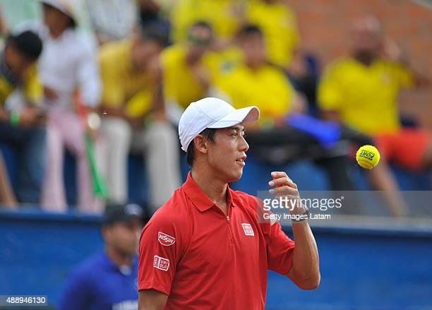 Kei Nishikori of Japan gestures during the Davis Cup World Group Playoff singles match between Alejandro Falla of Colombia and Kei Nishikori of Japan...