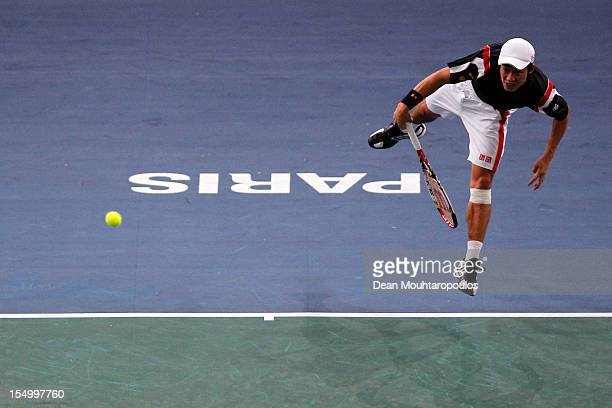 Kei Nishikori of Japan in action against Benoit Paire of France during day 2 of the BNP Paribas Masters at Palais Omnisports de Bercy on October 30,...