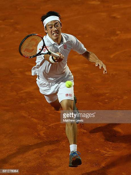 Kei Nishikori of Japan in action against Dominic Thiem of Austria during day six of the The Internazionali BNL d'Italia 2016 on May 13 2016 in Rome...