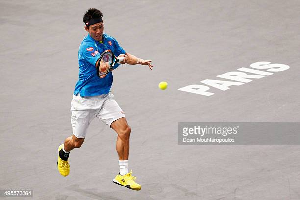 Kei Nishikori of Japan in action against Jeremy Chardy of France during Day 3 of the BNP Paribas Masters held at AccorHotels Arena on November 4,...