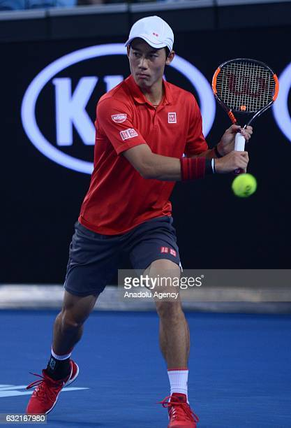 Kei Nishikori of Japan in action against Lukas Lacko of Slovakia on day five of the 2017 Australian Open at Melbourne Park on January 20 2017 in...