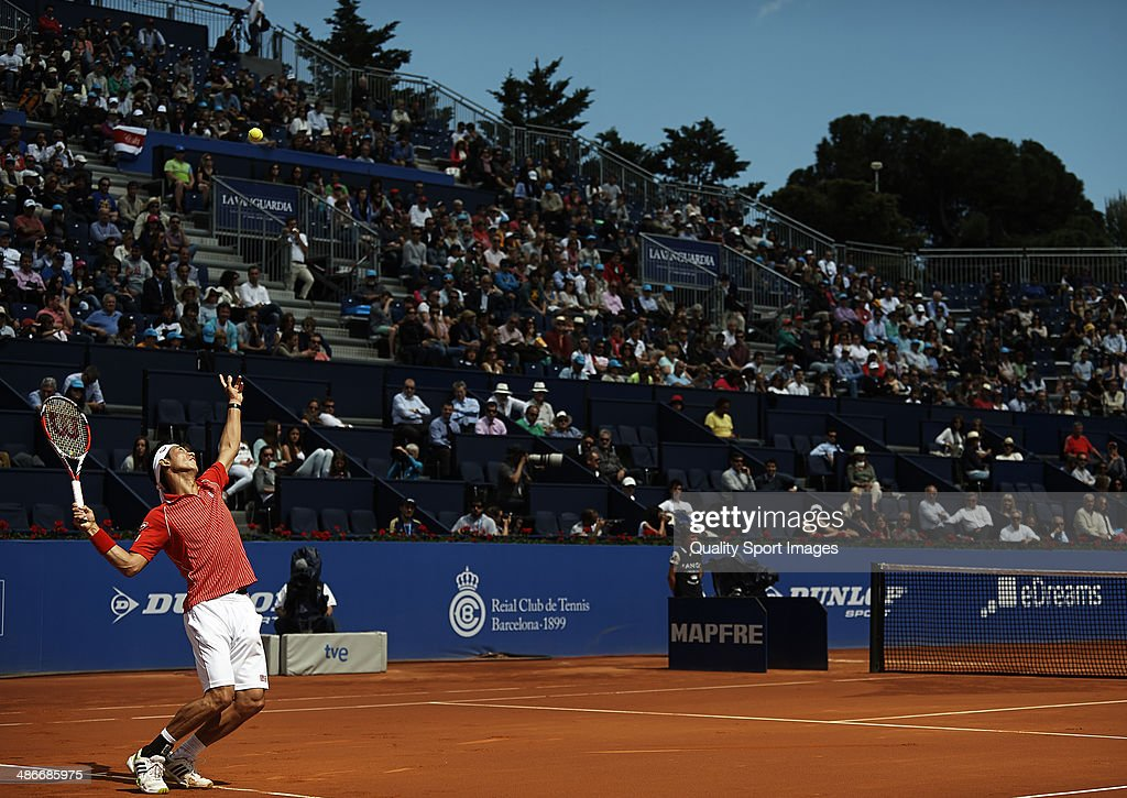 Kei Nishikori of Japan in action against Marin Cilic of Croatia during day five of the ATP Barcelona Open Banc Sabadell at the Real Club de Tenis Barcelona on April 25, 2014 in Barcelona, Spain.