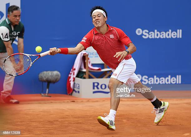 Kei Nishikori of Japan in action against Marin Cilic of Croatia during the ATP Tour Open Banc Sabadell Barcelona 2014 62nd Trofeo Conde de Godo at...