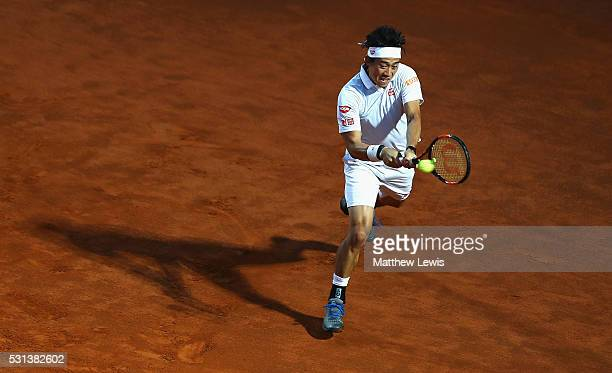 Kei Nishikori of Japan in action against Novak Djokovic of Serbia during day seven of The Internazionali BNL d'Italia 2016 on May 14 2016 in Rome...