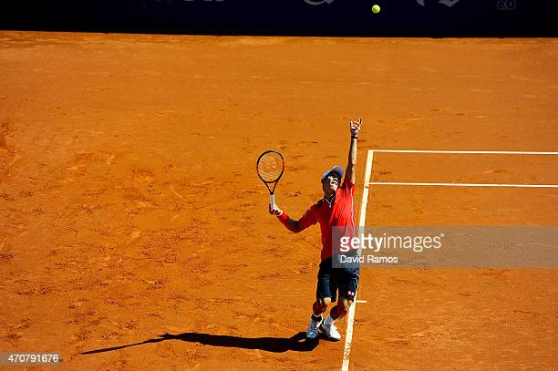 Kei Nishikori of Japan in action against Santiago Giraldo of Colombia during day four of the Barcelona Open Bac Sabadell at the Real Club de Tenis...