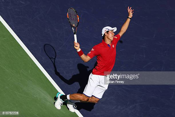 Kei Nishikori of Japan in action against Steve Johnson of USA during day nine of the BNP Paribas Open at Indian Wells Tennis Garden on March 15 2016...