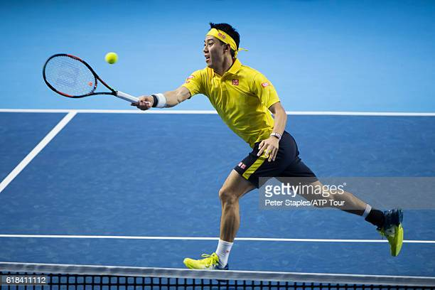 Kei Nishikori of Japan in action defeating Paolo Lorenzi of Italy at the Swiss Indoors Basel on October 26 2016 in Basel Switzerland