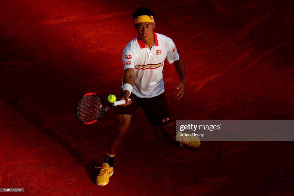 Kei Nishikori of Japan in action during his men's singles match against Andreas Seppi of Italy on day five of the ATP Masters Series Monte Carlo Rolex Masters at Monte-Carlo Sporting Club on April 19, 2018 in Monte-Carlo, Monaco.