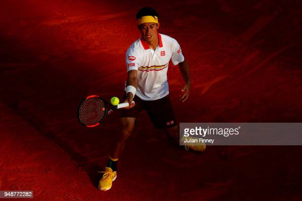 Kei Nishikori of Japan in action during his men's singles match against Andreas Seppi of Italy on day five of the ATP Masters Series Monte Carlo...