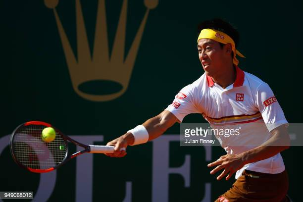 Kei Nishikori of Japan in action during his singles match against Marin Cilic of Croatia during day six of ATP Masters Series Monte Carlo Rolex...