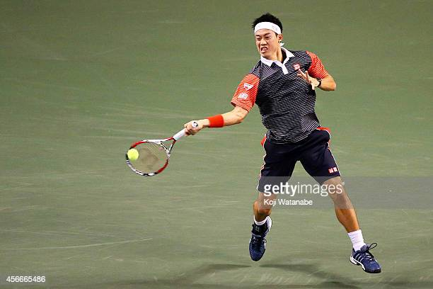 Kei Nishikori of Japan in action during the men's singles final match against Milos Raonic of Canada on day seven of Rakuten Open 2014 at Ariake...