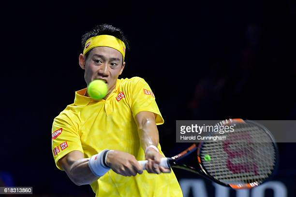Kei Nishikori of Japan in action during the Swiss Indoors ATP 500 tennis tournament match against Paolo Lorenzi of Italy at St Jakobshalle on October...
