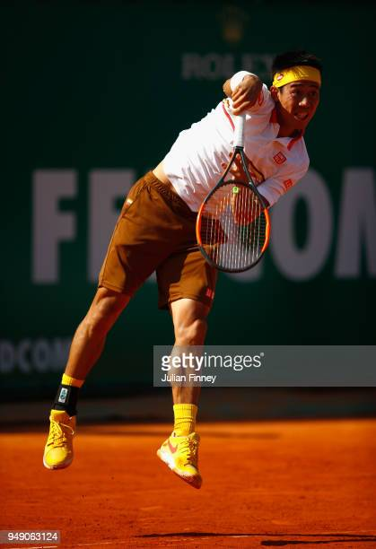 Kei Nishikori of Japan in action in his singles match against Marin Cilic of Croatia during day six of ATP Masters Series Monte Carlo Rolex Masters...