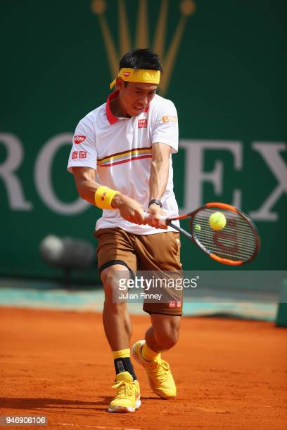 Kei Nishikori of Japan in action in his singles match against Tomas Berdych of Czech Republic during day two of ATP Masters Series Monte Carlo Rolex...