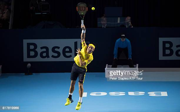Kei Nishikori of Japan in action in his win against Dusan Lajovic of Serbia at the Swiss Indoors Basel on October 24 2016 in Basel Switzerland