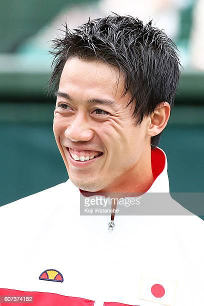 Kei Nishikori of Japan looks on during the Davis Cup World Group Playoff singles match between Japan and Ukraine at Utsubo Tennis Center on September...