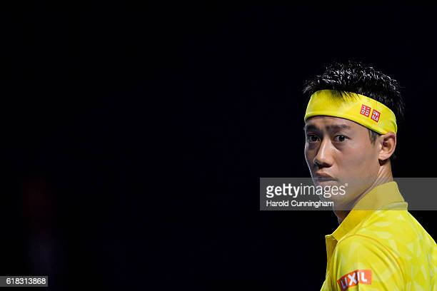 Kei Nishikori of Japan looks on during the Swiss Indoors ATP 500 tennis tournament match against Paolo Lorenzi of Italy at St Jakobshalle on October...
