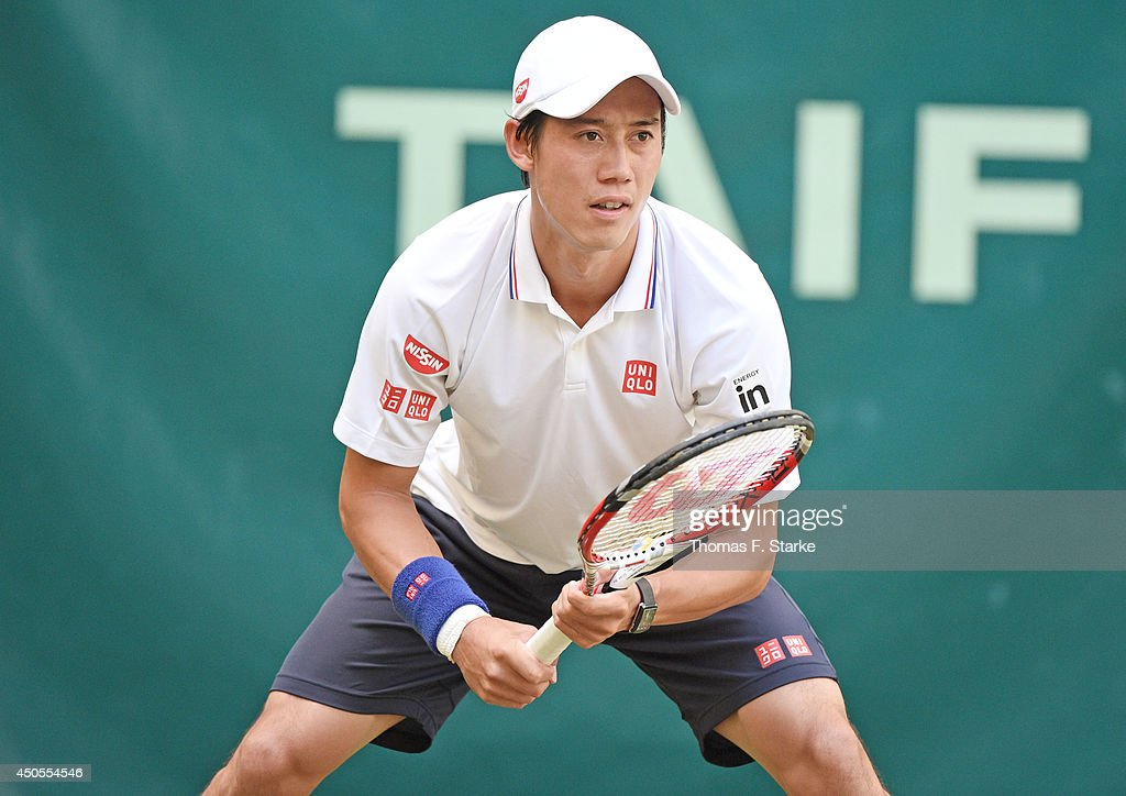 Kei Nishikori of Japan looks on in his match against Steve Johnson of the United States during day five of the Gerry Weber Open at Gerry Weber Stadium on June 13, 2014 in Halle, Germany.