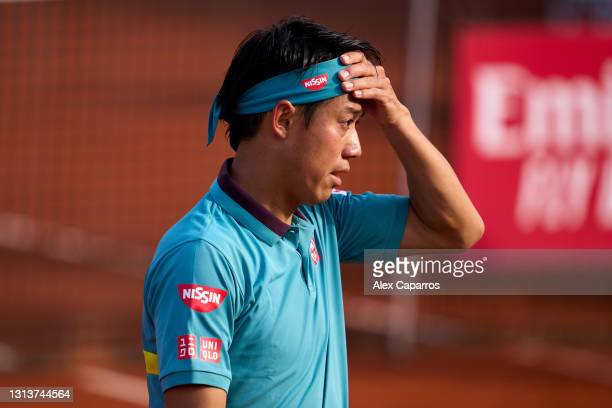 Kei Nishikori of Japan looks on in his second round match against Cristian Garin of Chile during day three of the Barcelona Open Banc Sabadell 2021...