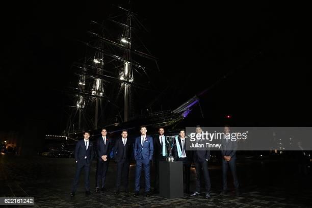 Kei Nishikori of Japan, Milos Raonic of Canada, Stan Wawrinka of Switzerland, Andy Murray of Great Britain, Marin Cilic of Croatia, Dominic Thiem of...