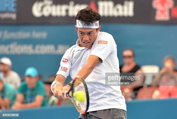 Kei Nishikori of Japan plays a backhand against Jared Donaldson of the USA on day four of the 2017 Brisbane International at Pat Rafter Arena on...
