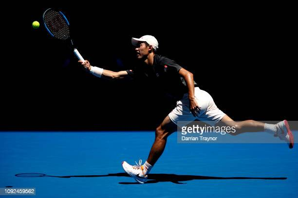 Kei Nishikori of Japan plays a fore during a practice session ahead of the 2019 Australian Open at Melbourne Park on January 11 2019 in Melbourne...
